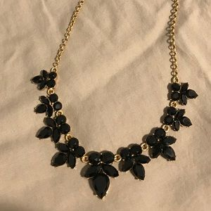 J Crew black and gold statement necklace EUC